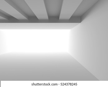 Abstract White Architecture Background. Empty Room Modern Interior. 3d Render Illustration