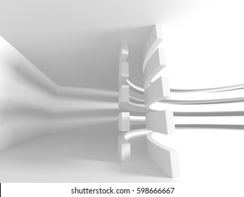 Abstract White Architecture Geometric Background. 3d render illustration