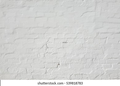 Abstract White Background. Brick Wall Texture. White Washed Brickwall Surface. Vintage Horizontal Backdrop Or Wallpaper