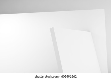 Abstract white background, contemporary minimal architecture, blank interior design. 3d render illustration