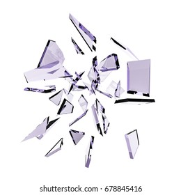 Abstract white background with isolated glass shards and glitter. 3d illustration, 3d  rendering.