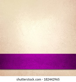abstract white background and purple ribbon stripe, blank beautiful ivory off-white background color, fancy elegant pale gold background paper, vintage background texture, luxurious purple pink ribbon