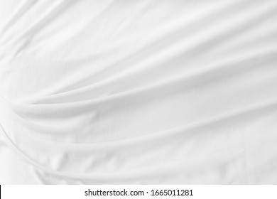 Abstract White Bedding Sheets or blanket Background and Texture with copy-space:soft focus