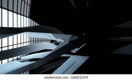 Abstract white and black interior with window. 3D illustration and rendering.
