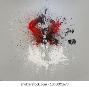 Abstract white, black, red, gray paint background, multicolored paint splash, Color, free stain icon, acrylic painting, copy space