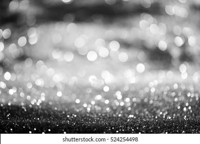 abstract white Bokeh circles for Christmas background, glitter light Defocused