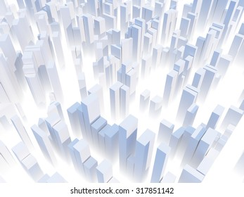 Abstract white city render -  skyscraper business office buildings concept
