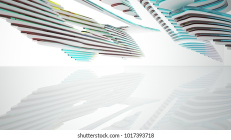 Abstract white and colored gradient glasses parametric interior  with window. 3D illustration and rendering.