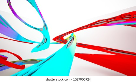 Abstract white and colored gradient parametric interiorwith window. 3D illustration and rendering.