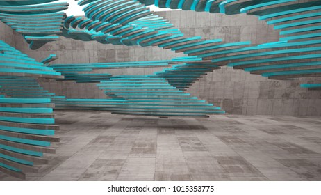 Abstract white and concrete interior  with glossy blue lines. 3D illustration and rendering.