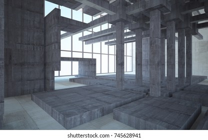Abstract white and concrete interior multilevel public space with window. 3D illustration and rendering.