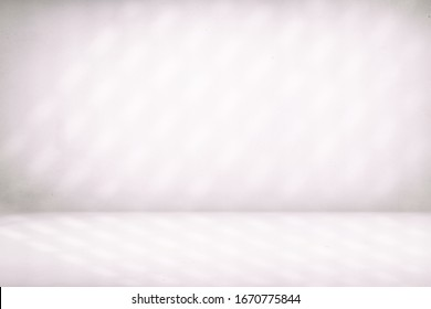 Abstract White Concrete Room Background with Beautiful Light Leak, for Product Presentation Backdrop and Mockup.
