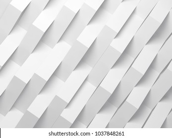 Abstract white digital background pattern, corners of paper stripes over wall. 3d render illustration