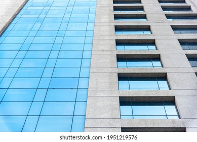 Abstract White empty interior with window. Glass building with open windows.