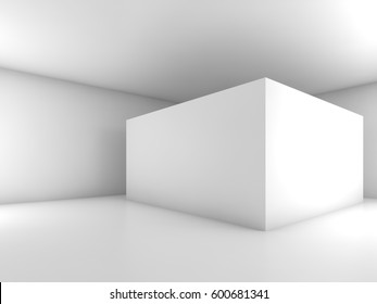 Abstract white empty room interior, modern design. 3d render illustration with soft shadows