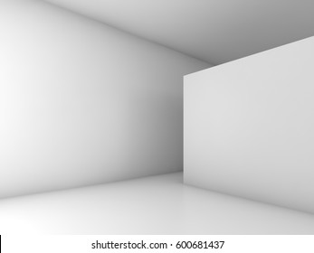 Abstract white empty room interior. 3d render illustration with soft shadows