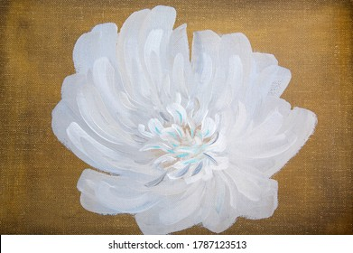 Abstract white flower painted with oil paints on dark gold canvas