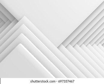 Abstract White Geometric Pattern Background. 3d Render Illustration