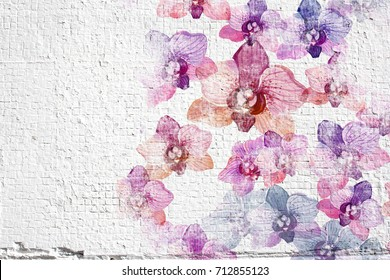 Abstract white grunge wall stucco background. Wall stucco texture with colorful watercolor flowers orchids.