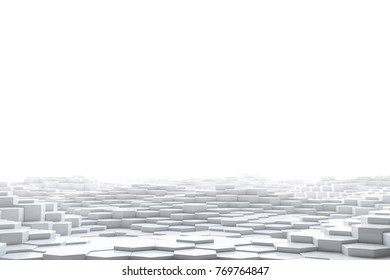Abstract white hexagonal geometric layered. Futuristic hexagons surface. Future sci-fi concept background. 3D Rendering.