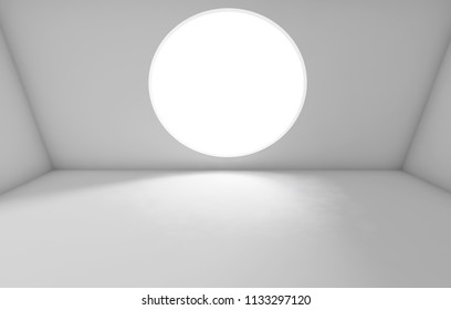 Abstract white interior background, empty room with round window in front wall. 3d render illustration