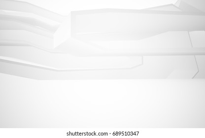 Abstract white interior of the future. 3D illustration and rendering