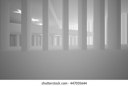 Abstract white interior with future columns and lights in the form of stars. Architectural background. 3D illustration. 3D rendering