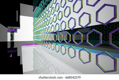 Abstract white interior of the future, with glossy black sculpture and colored gradient lines. 3D illustration and rendering