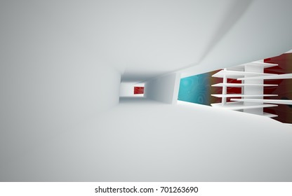 Abstract white interior of the future, with glossy gradient colored water wall and floor. 3D illustration and rendering