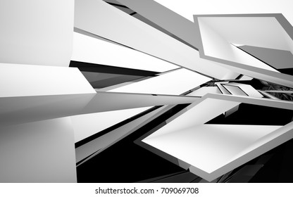Abstract white interior of the future, with glossy black wall and floor. 3D illustration and rendering