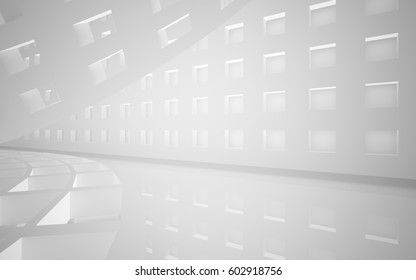 Abstract white interior of the future, with neon lighting.  Architectural background. 3D illustration and rendering