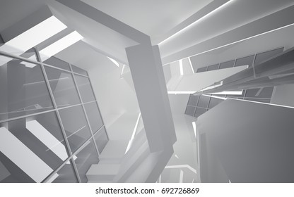 Abstract white interior of the future. Night view from the backlight. Architectural background. 3D illustration and rendering