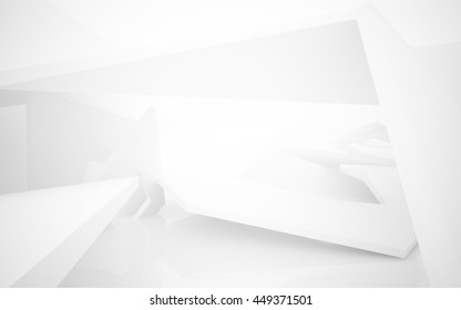 Abstract white interior highlights future. Architectural background. 3D illustration. 3D rendering
