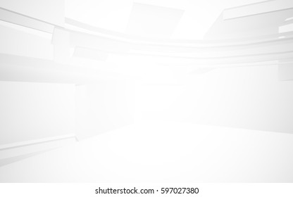 Abstract White Interior Highlights Future Architectural Background 3D Illustration And Rendering