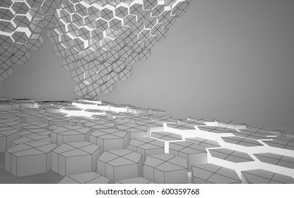 Abstract white interior highlights future with hexagonal honeycombs. Polygon drawing. Architectural background. 3D illustration and rendering