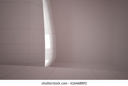 Abstract white interior highlights future. Polygon red drawing. Architectural background. 3D illustration and rendering