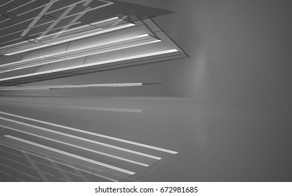 Abstract white interior highlights future. Polygon drawing . Architectural background. 3D illustration and rendering