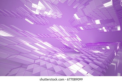 Abstract white interior highlights future. Polygon pink drawing. Architectural background. 3D illustration and rendering