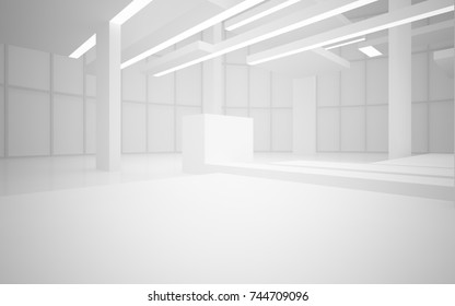 Abstract white interior multilevel public space with neon lighting. 3D illustration and rendering.