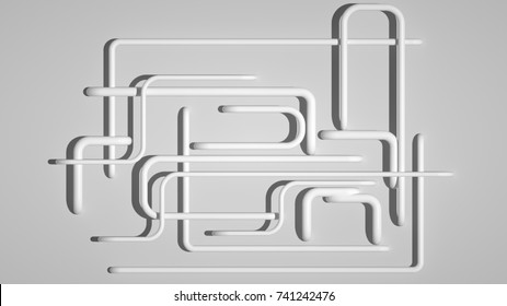 Abstract white or light grey background with many pipes, 3d render