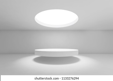 Abstract white minimal interior background, showroom with round ceiling light and flying table. Front view. 3d render illustration