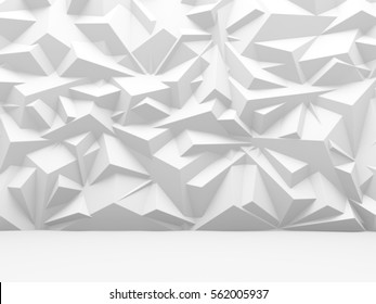 Abstract white polygon pattern wall architecture background. 3d render illustration