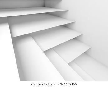 Abstract white room interior with empty shelves construction, digital 3d illustration background