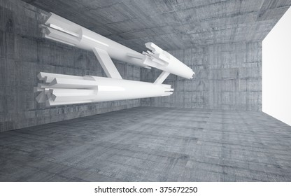 Abstract white sculpture in concrete interior. 3D illustration. 3D rendering