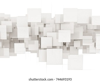 Abstract white square background isolated on white. 3d render