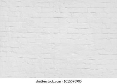 Abstract White Texture. White Washed Old Brick Wall With Stained And Shabby Uneven Plaster. Painted White Grey Brickwall Background. Home House Room Interior Design. Square Wallpaper