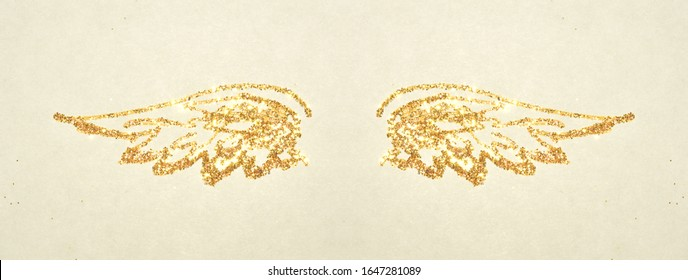 Abstract wings of gold glitter in vintage colors