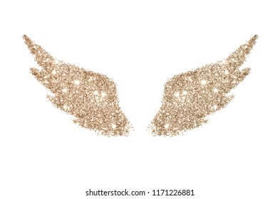 Abstract wings of rose gold glitter on white background - interesting and beautiful element for your design