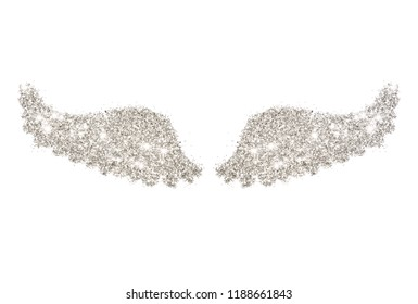 Abstract wings of silver glitter on white background - interesting and beautiful element for your design