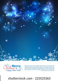 Abstract winter night background with moon, stars, night time sky, snowflakes, lights, text, bokeh effects, grunge elements